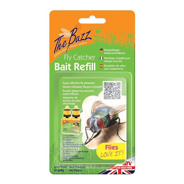 The Buzz Fly Catcher Attractant Bait Refill 3 x 4g Sachets