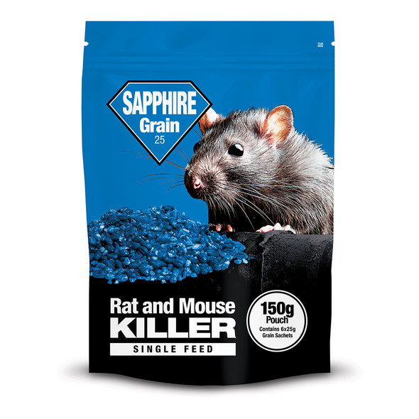Lodi Sapphire Grain Bait Rat and Mouse Killer Poison Single Feed Brodifacoum 150g