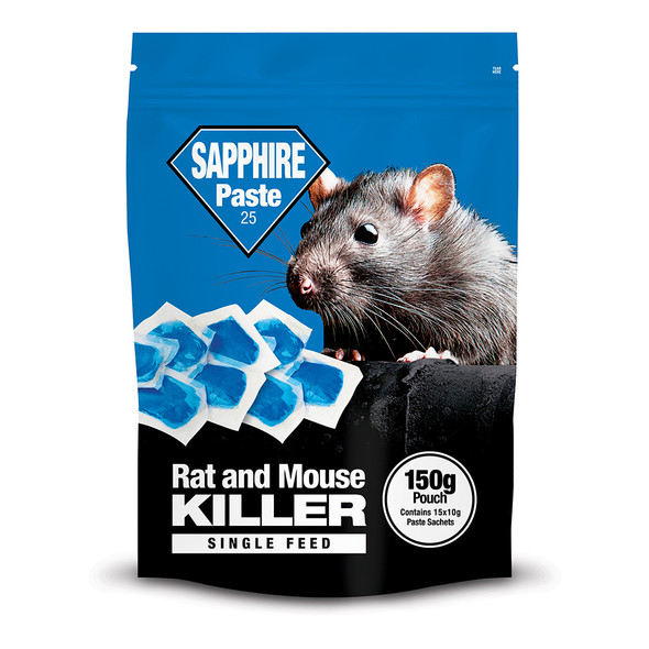 Lodi Sapphire Paste Bait Rat and Mouse Killer Poison Single Feed Brodifacoum 150g