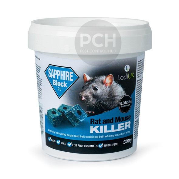 Lodi Sapphire Block Bait Rat and Mouse Killer Poison Single Feed Brodifacoum 300g