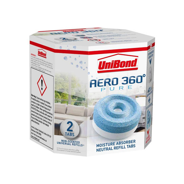 UniBond Aero 360 Moisture and Odour Absorber Neutral Refill Tabs 2 Pack