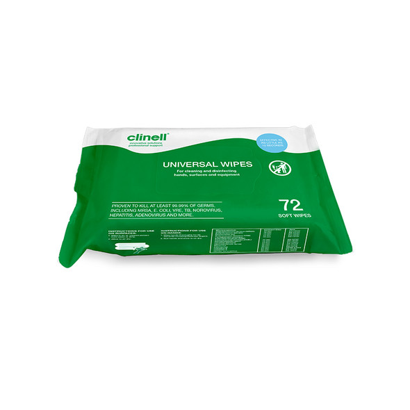 Clinell Universal Cleaning and Surface Disinfection Wipes 72
