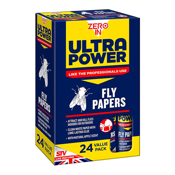 Zero In Ultra Power Fly Papers Poison-free Kills Insects 24 Pack