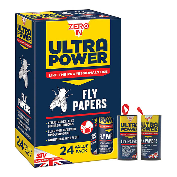Zero In Ultra Power Fly Papers Poison-free Kills Insects 24 Pack (ZER508)