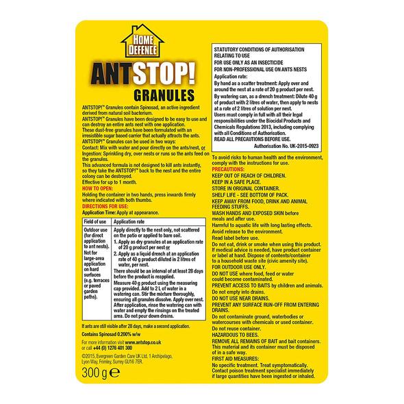 Home Defence Ant Stop Nest Killer Powder Granules 300g