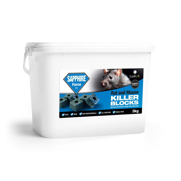 Sapphire Force 25 3kg Blocks All-Weather Single-Feed Rodent Killer Brodifacoum