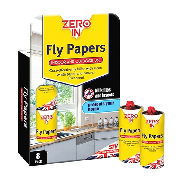 Zero In Sticky Fly Papers for Flies and Insects 8 Pack (ZER878)