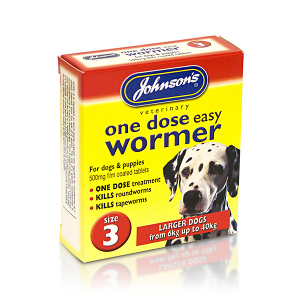 Johnson's One Dose Easy Wormer Tablets for Dogs Size 3 (B053)