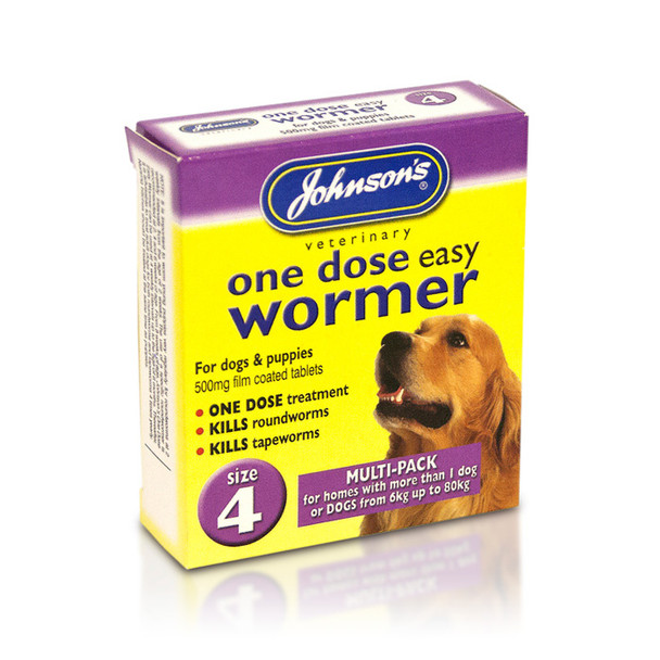 Johnson's One Dose Easy Wormer Tablets for Dogs Size 4 (B054)