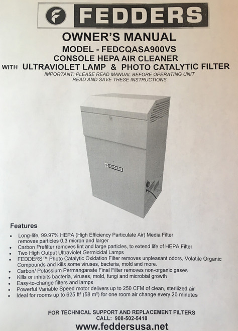 Owners Manual FEDDERS HEPA Air Cleaner with Ultraviolate Light and Photo Catalytic Filter