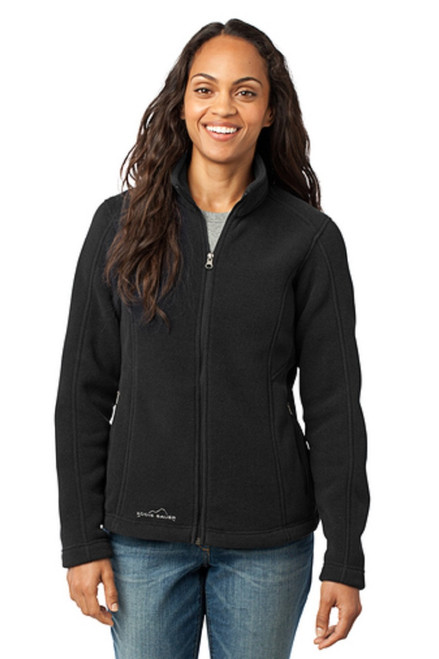 This super soft and warm jacket is as comfortable as it gets for fall hikes and everyday excursions. Princess seams, reverse coil dyed-to-match zippers, front zippered pockets with tricot lining, open cuffs and an open hem. Contrast Eddie Bauer logo embroidered on right hem. Made of 12-ounce, 100% polyester fleece which incorporates Low Impact Technology™ for enhanced softness and performance.  BLACK