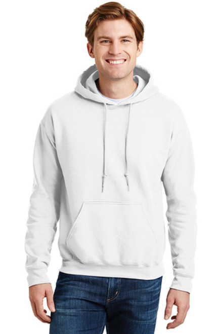 9-ounce, 50/50 cotton/poly Moisture-wicking properties Double-needle stitching at waistband and cuffs Heat transfer label Double-lined hood with dyed-to-match drawcord 1x1 rib knit cuffs and waistband with spandex Front pouch pocket  WHITE