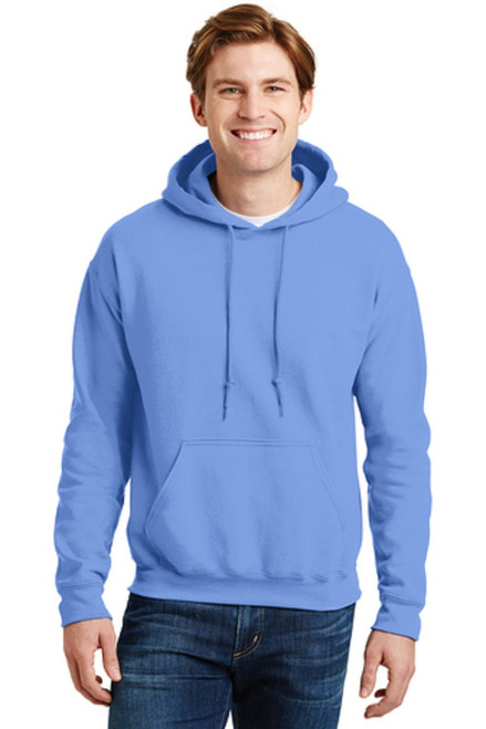 9-ounce, 50/50 cotton/poly Moisture-wicking properties Double-needle stitching at waistband and cuffs Heat transfer label Double-lined hood with dyed-to-match drawcord 1x1 rib knit cuffs and waistband with spandex Front pouch pocket  CAROLINA BLUE