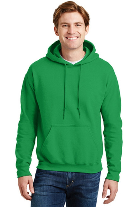 9-ounce, 50/50 cotton/poly Moisture-wicking properties Double-needle stitching at waistband and cuffs Heat transfer label Double-lined hood with dyed-to-match drawcord 1x1 rib knit cuffs and waistband with spandex Front pouch pocket  IRISH GREEN