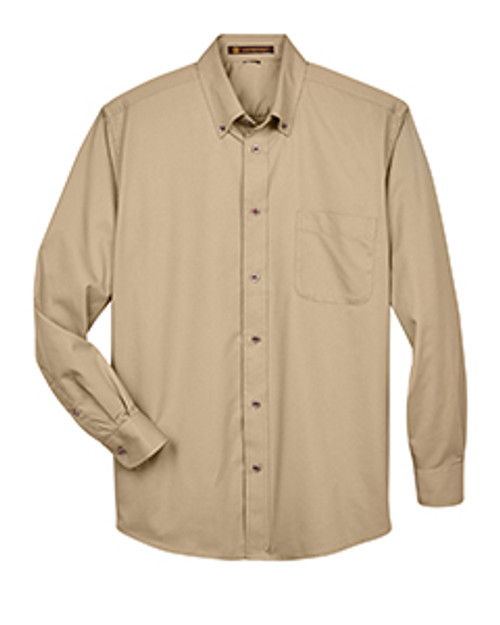 Harriton M500 Men's Easy Blend™ Long-Sleeve Twill Shirt with Stain-Release