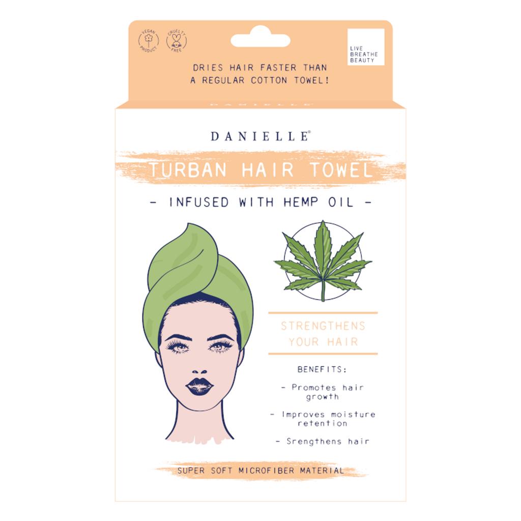 Danielle Hemp Oil Infused Green Turban Hair Towel