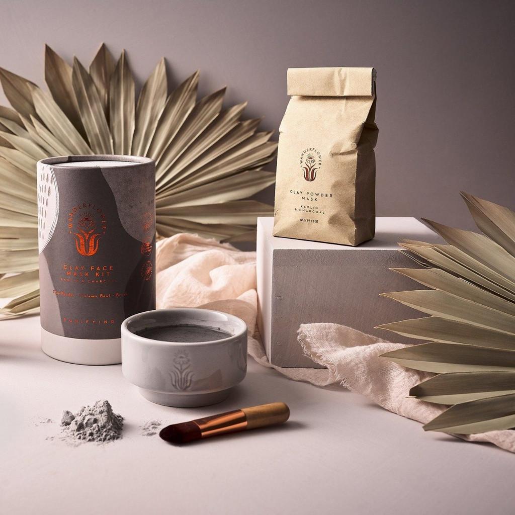 Wanderflower Kaolin & Charcoal Clay Face Mask 3 Piece Kit