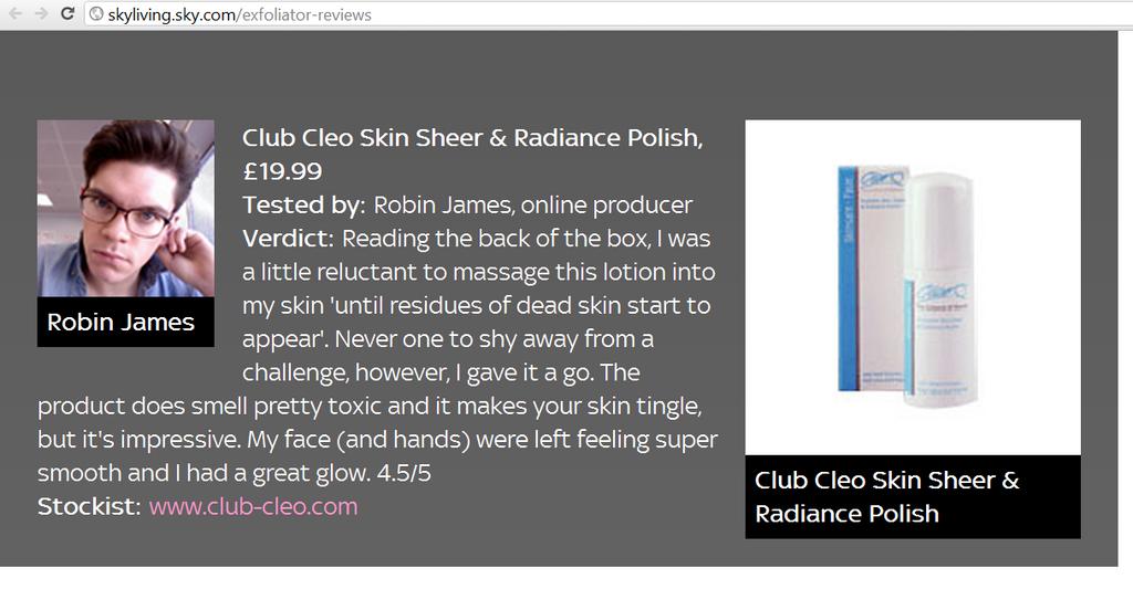 cleo skin sheer radiance polish media review
