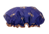 Danielle Creations Navy & Vintage Gold Bee Shower Cap
