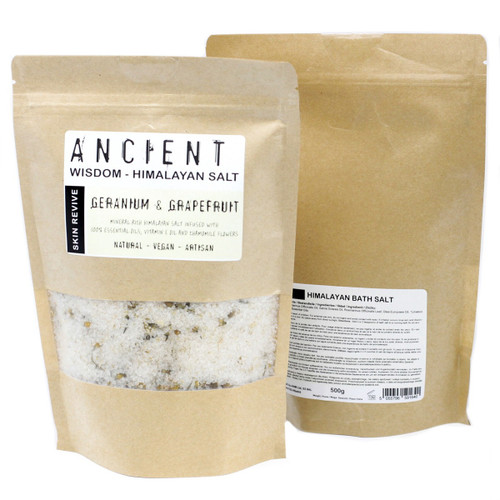 Himalayan Bath Salts Revive Blend with Geranium & Grapefruit 500g