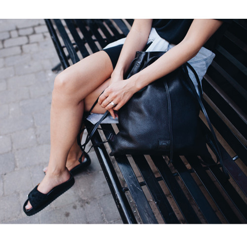 efb698b082bf ... Marla from Trendstruck with the Jin backpack  JIN LEATHER DRAWSTRING  BACKPACK