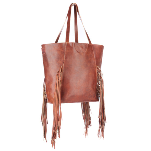 Pixie fringed tote in cognac rugby leather 0bfa957f6946e