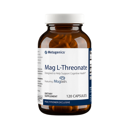 Mag L-threonate is desinged to help cognitive health.  Research has shown that Mag L-Threonate promotes age-related memory health and the creation of new neural pathways. Magnesium is also a natural muscle relaxer which aids the brain at bedtime, supporting sleep quality and healthy sleep habits.