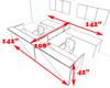 8pc 12' Feet U Shaped Glass Divider Counter Reception Desk Set, #CH-AMB-R20