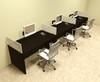 Three Person Divider Modern Office Workstation Desk Set, #OT-SUL-SP8