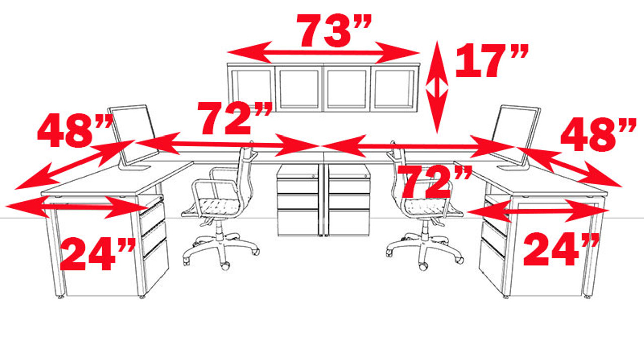 Two Persons Modern Executive Office Workstation Desk Set, #OF-CON-S19