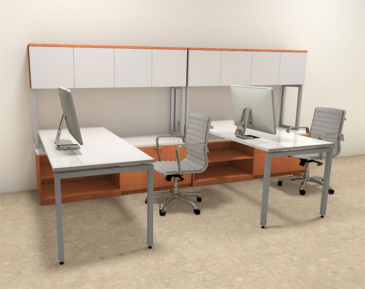 Two Persons Modern Executive Office Workstation Desk Set, #OF-CON-S6