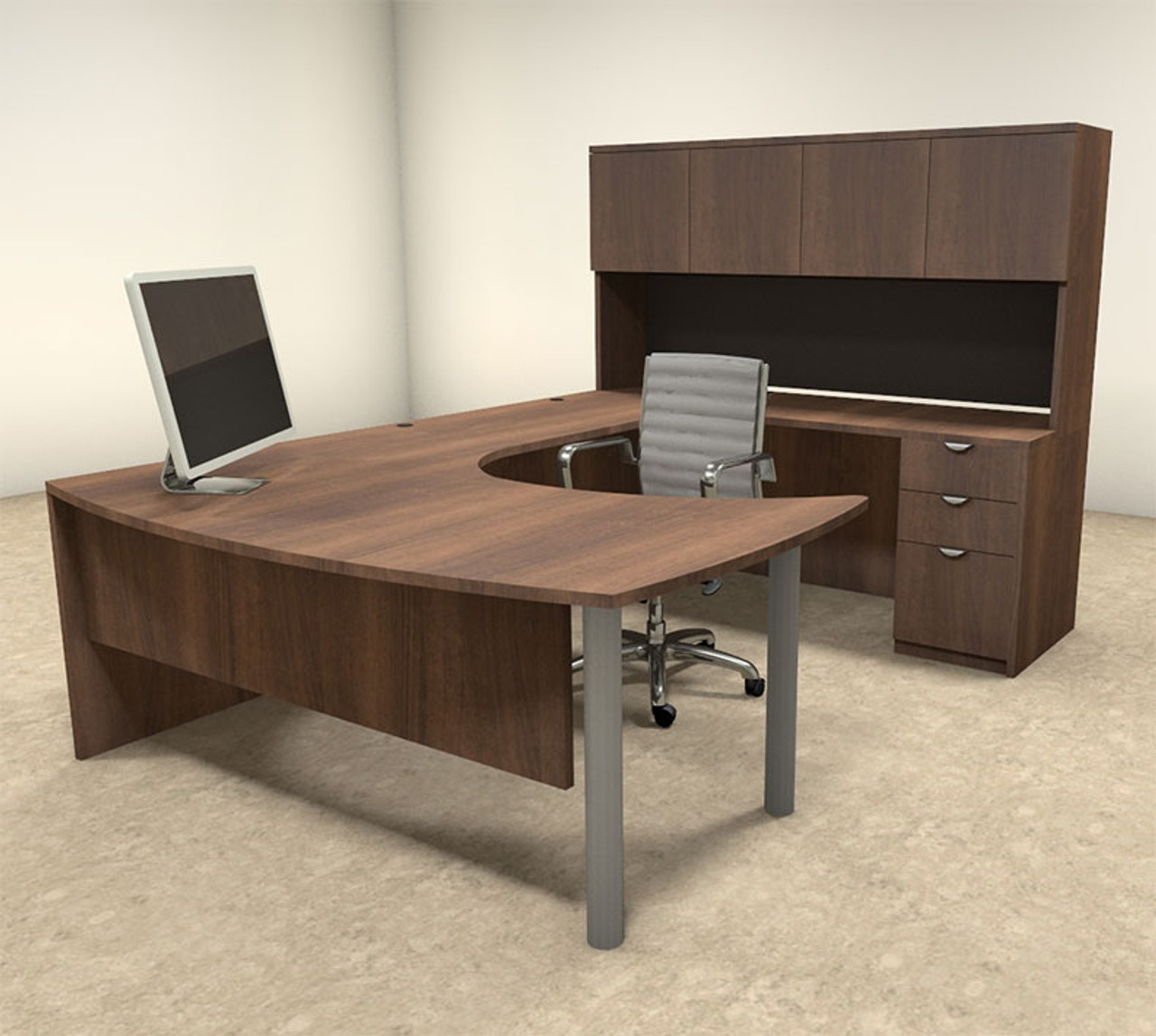 5pc U Shaped Modern Contemporary Executive Office Desk Set