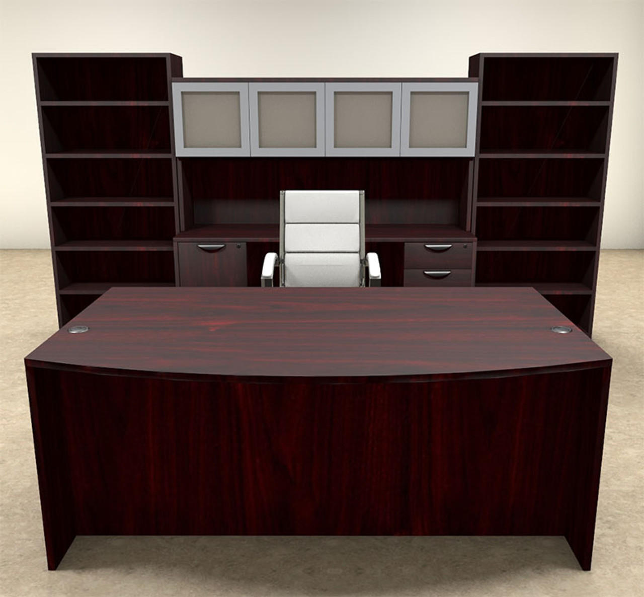 8pc Fan Front Modern Executive Office Desk Set, #OT-SUL-D19