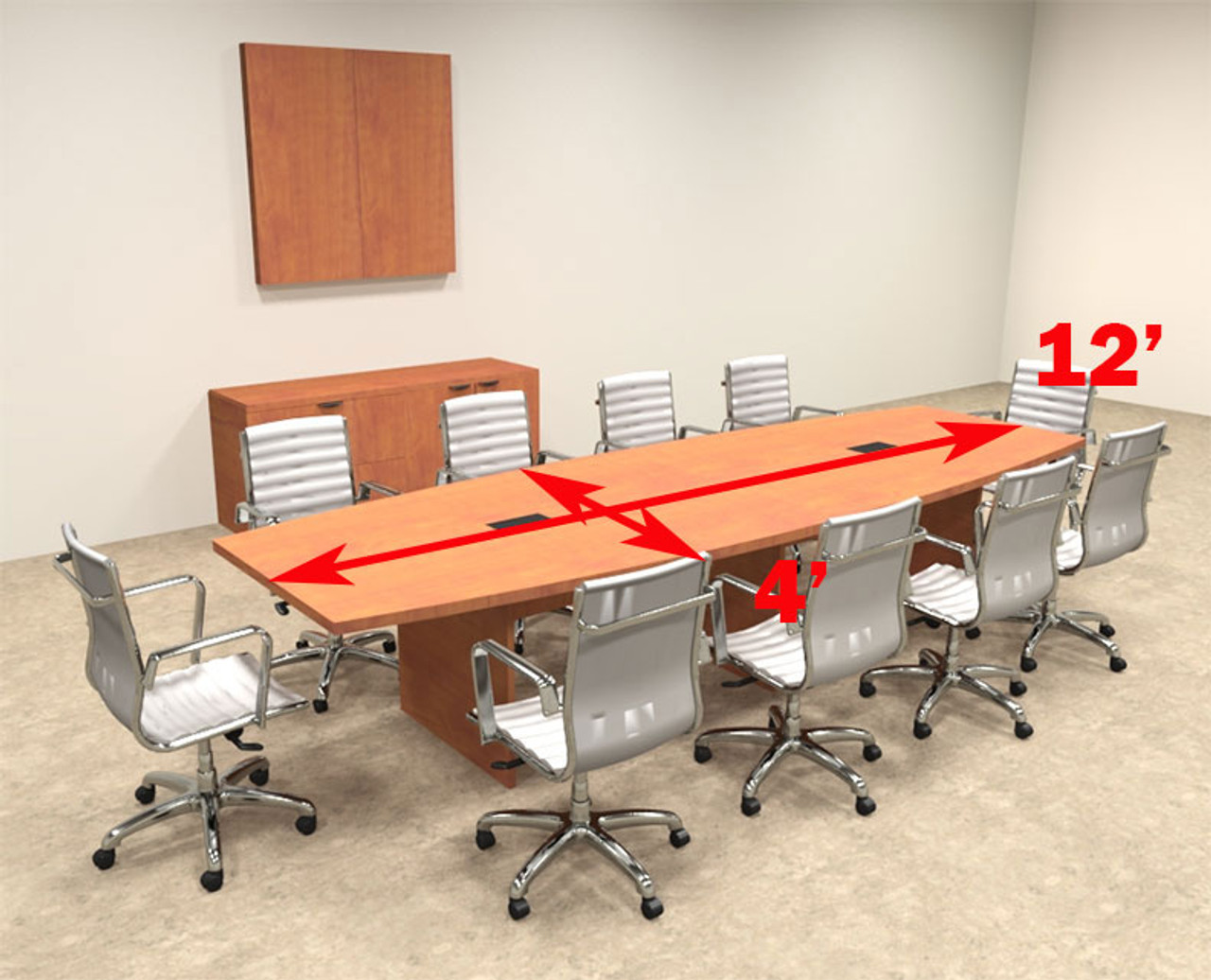 Modern Boat Shapedd 12' Feet Conference Table, #OF-CON-C64