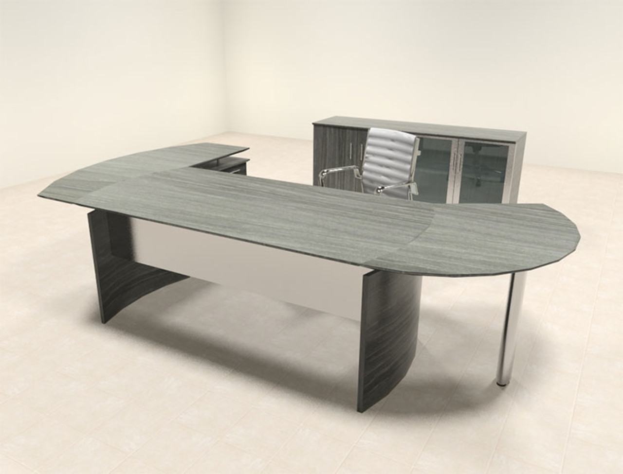 4pc Modern Contemporary L Shaped Executive Office Desk Set, #MT-MED-O10