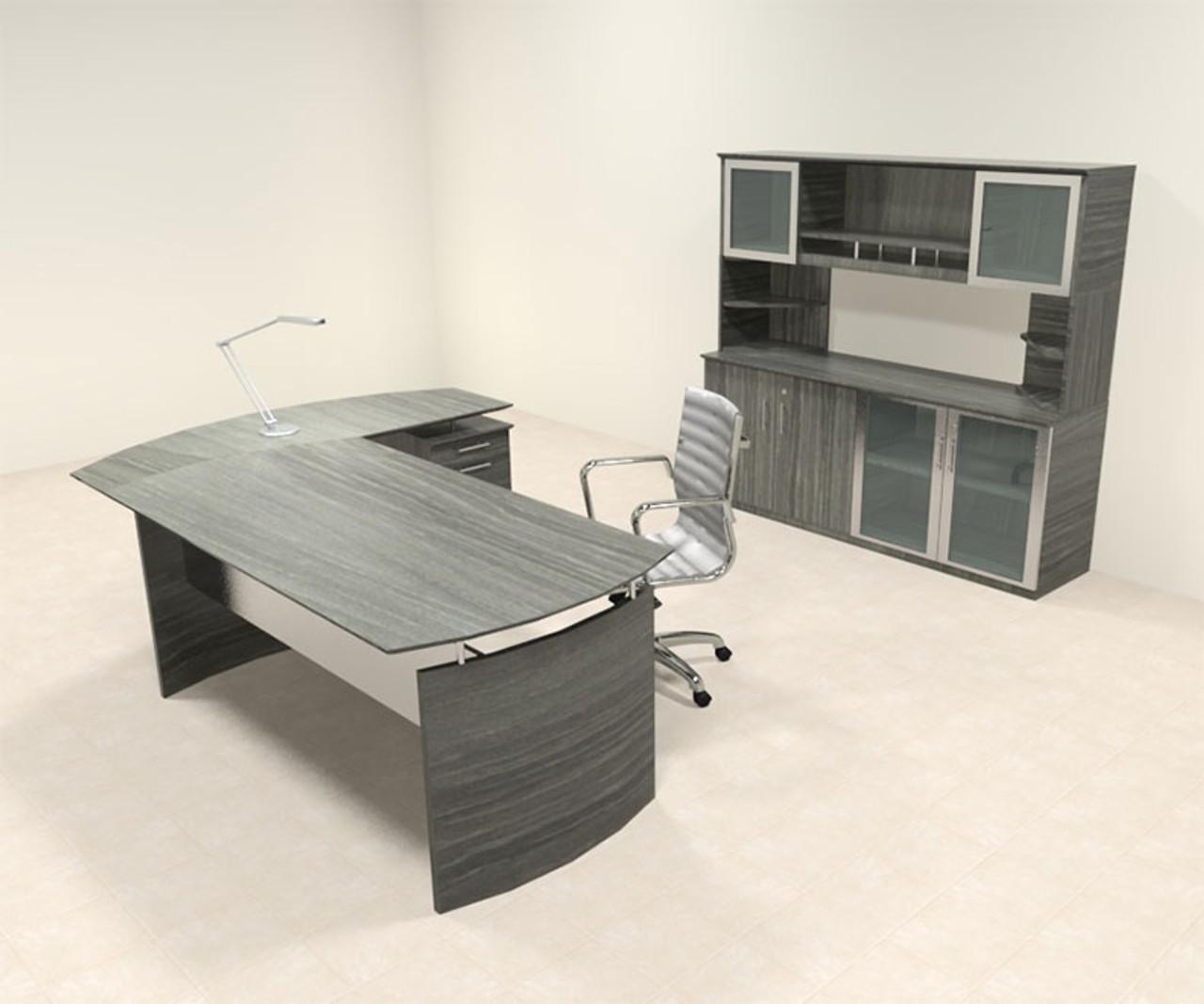 4pc Modern Contemporary L Shaped Executive Office Desk Set Mt Med O34 H2o Furniture