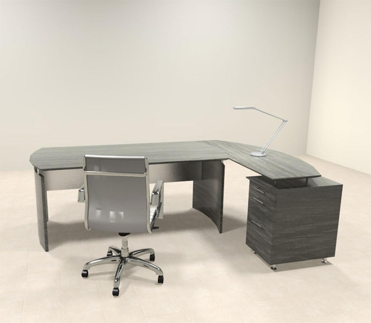 2pc Modern Contemporary L Shaped Executive Office Desk Set Mt Med O4 H2o Furniture
