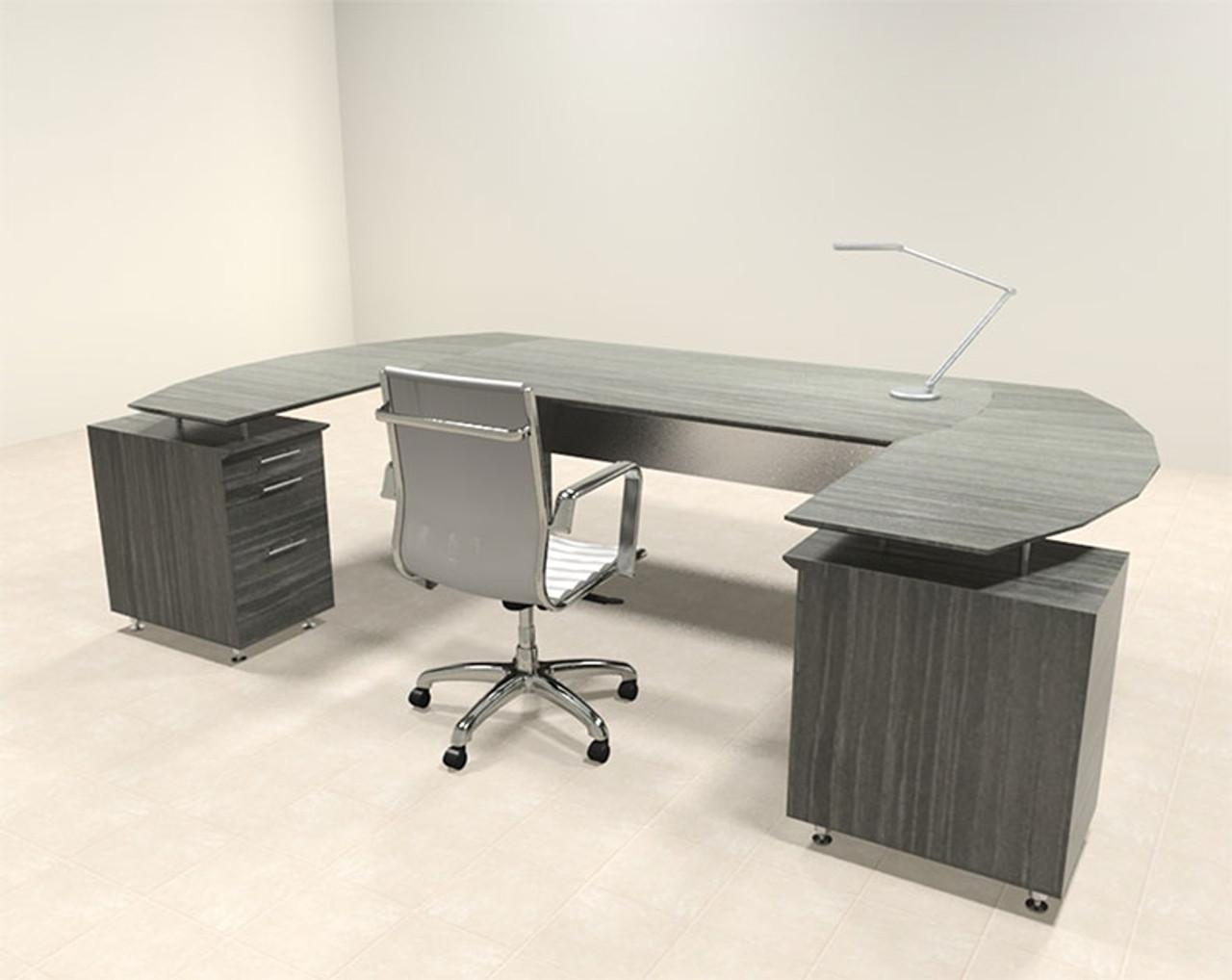 3pc Modern Contemporary U Shaped Executive Office Desk Set, #MT-MED-O7