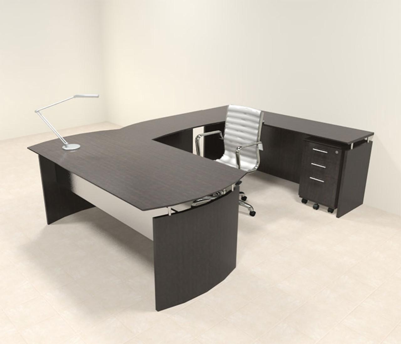4pc Modern Contemporary U Shaped Executive Office Desk Set, #MT-MED-U3