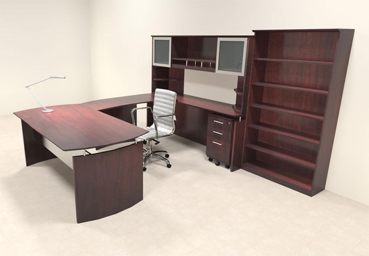 6pc Modern Contemporary U Shaped Executive Office Desk Set, #MT-MED-U8