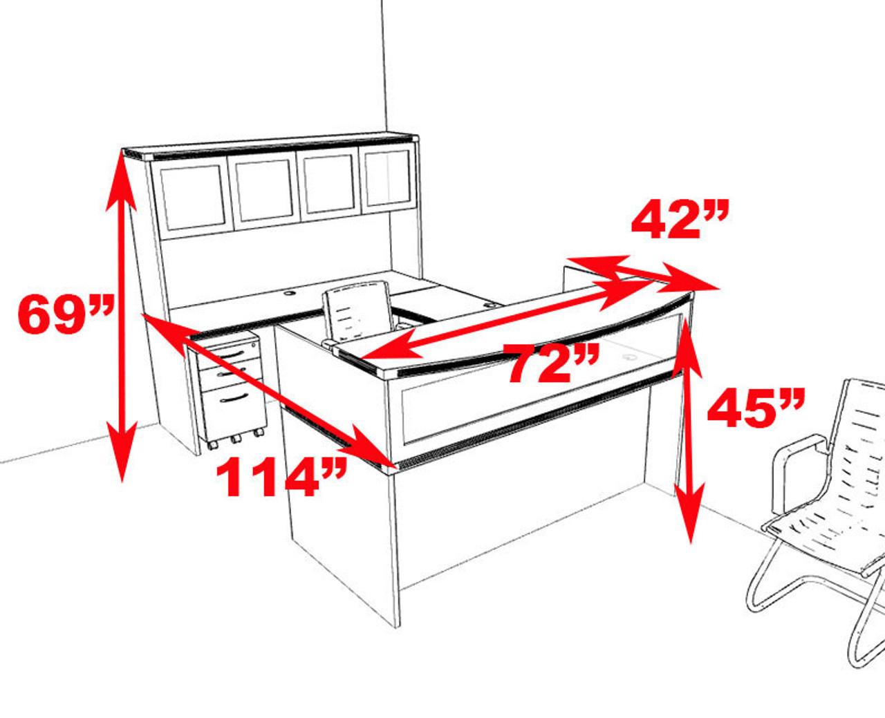 5pc Modern Contemporary U Shaped Glass Reception Desk Set, #RO-ABD-R10