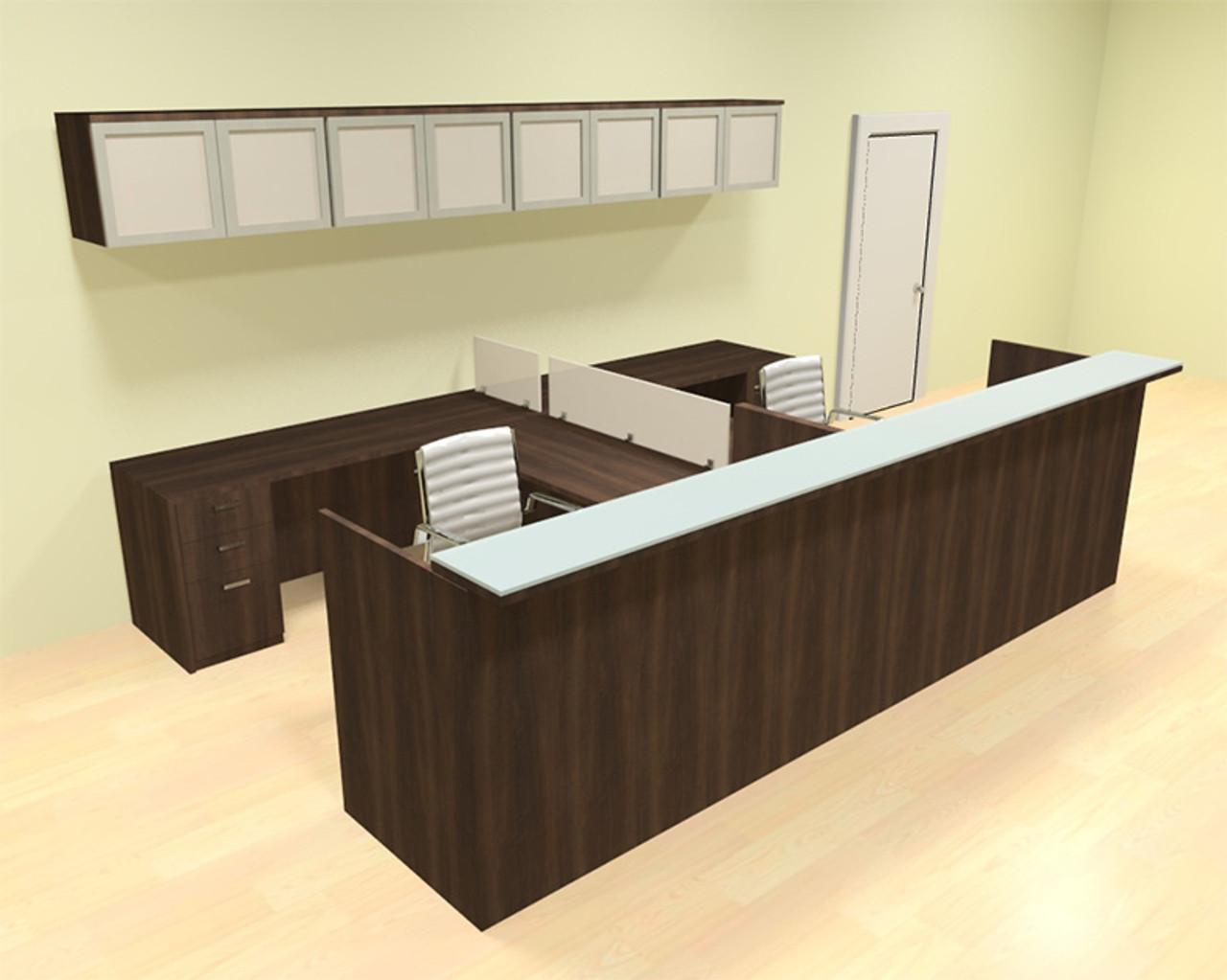 12pc 12' Feet U Shaped Glass Counter Reception Desk Set, #CH-AMB-R24