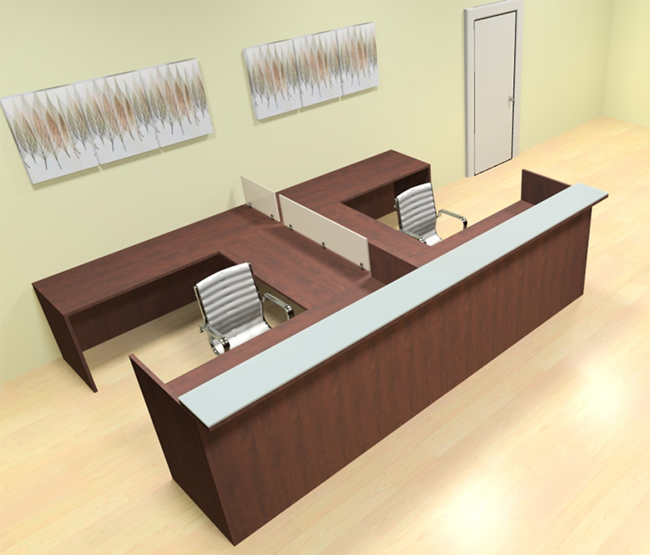 8pc 12' Feet U Shaped Glass Divider Counter Reception Desk Set, #CH-AMB-R16