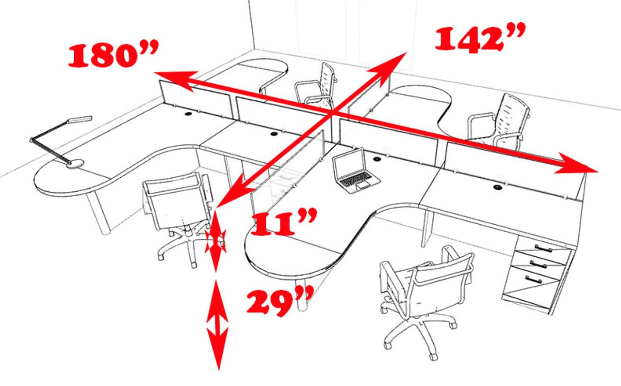 Four Person L Shaped Modern Divider Office Workstation Desk Set, #CH-AMB-SP10