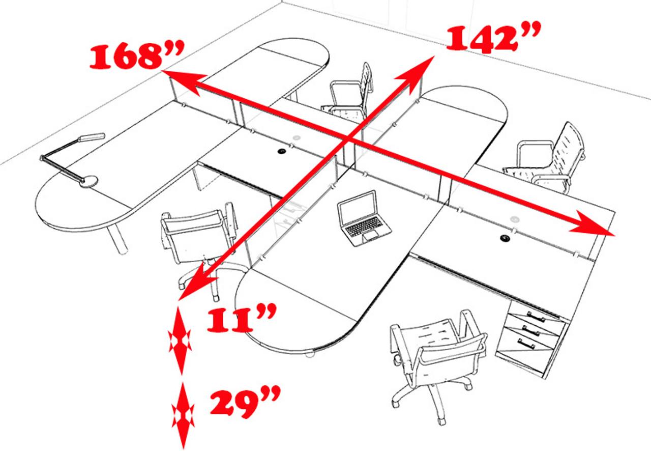 Four Person L Shaped Modern Divider Office Workstation Desk Set, #CH-AMB-SP23