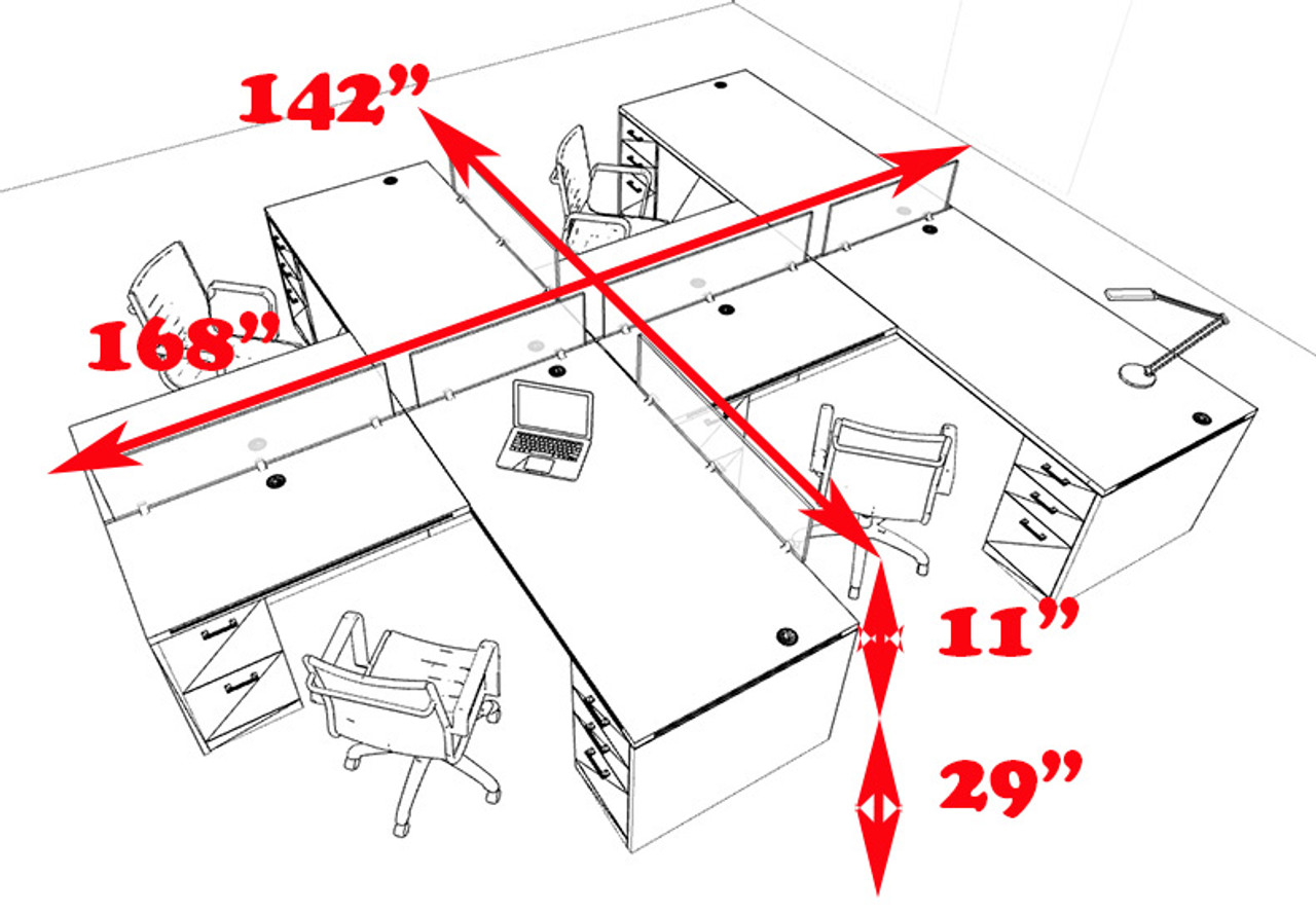 Four Person L Shaped Modern Divider Office Workstation Desk Set, #CH-AMB-SP39