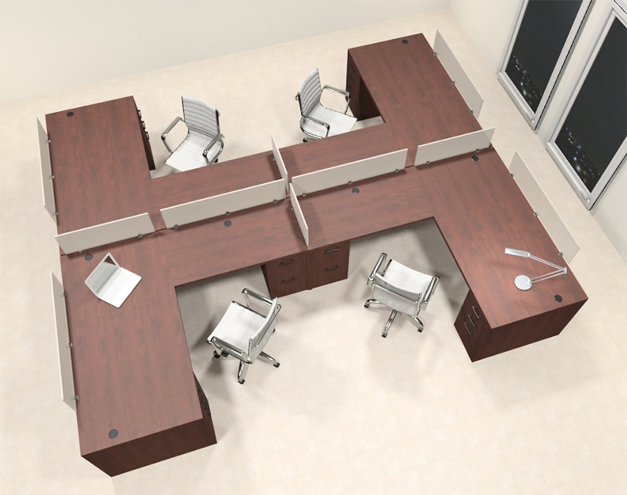 Four Person L Shaped Modern Divider Office Workstation Desk Set, #CH-AMB-SP46