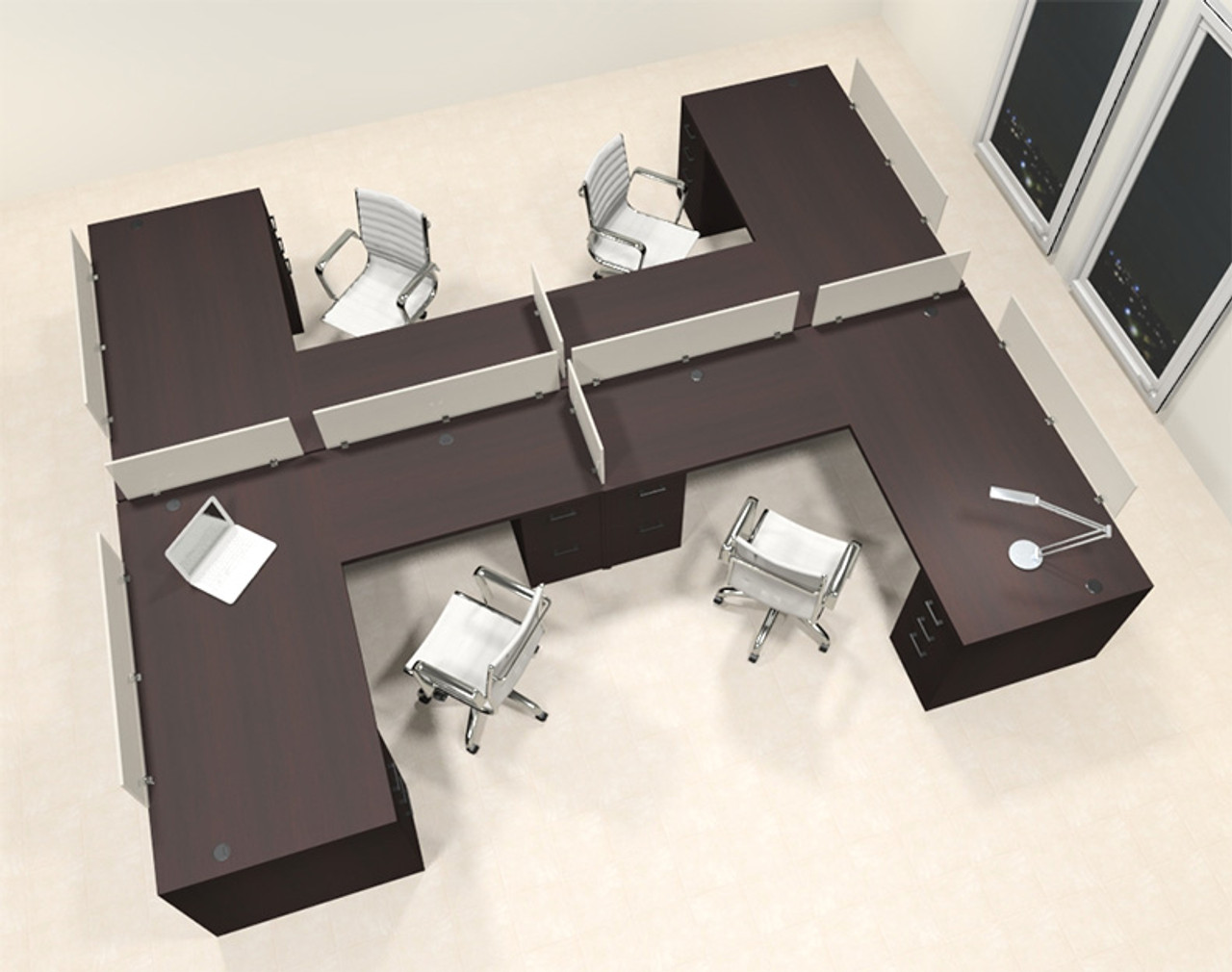 Four Person L Shaped Modern Divider Office Workstation Desk Set, #CH-AMB-SP47