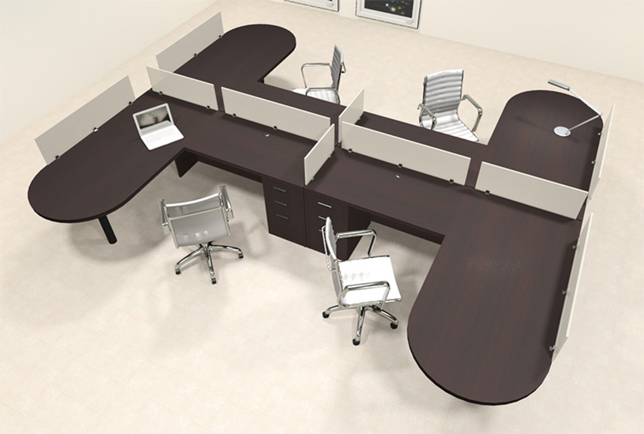 Four Person L Shaped Modern Divider Office Workstation Desk Set, #CH-AMB-SP52
