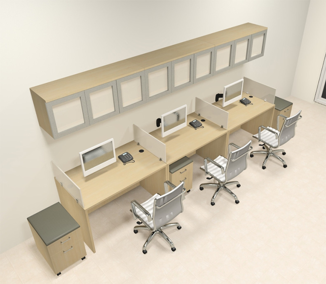 Three Person Modern Divider Office Workstation Desk Set, #CH-AMB-SP110